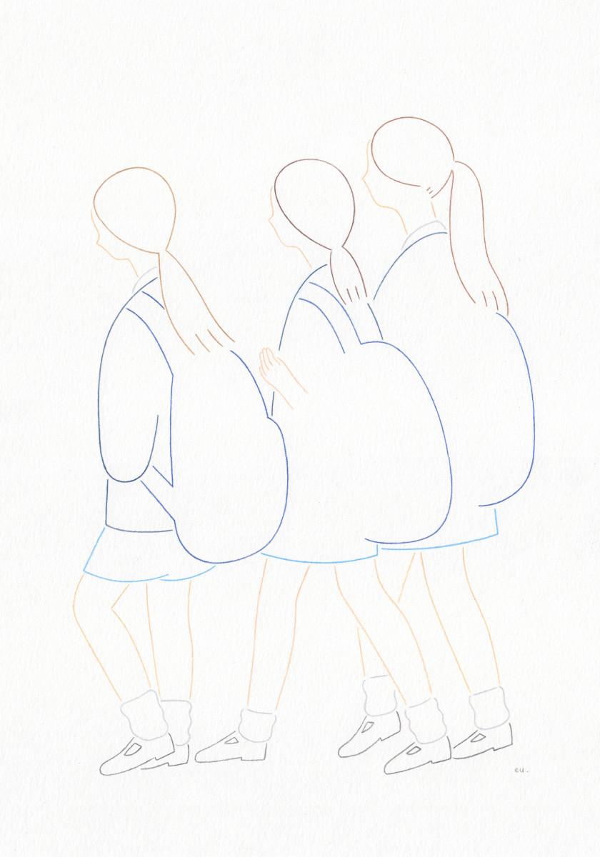 """Emi Ueoka / Personal Work / Three School Girls Walking<span class=""""slide_numbers""""><span class=""""slide_number"""">1</span>/1</span>"""