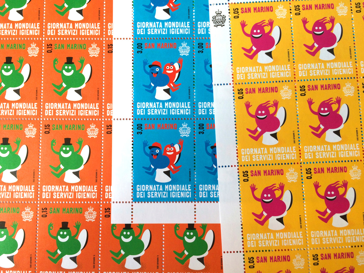 """Geneviève Gauckler / Commercial Work / World Toilet Day Stamps<span class=""""slide_numbers""""><span class=""""slide_number"""">5</span>/5</span>"""