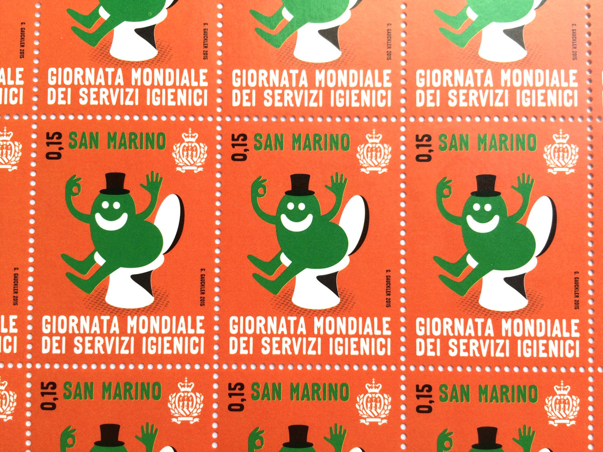 """Geneviève Gauckler / Commercial Work / World Toilet Day Stamps<span class=""""slide_numbers""""><span class=""""slide_number"""">1</span>/5</span>"""